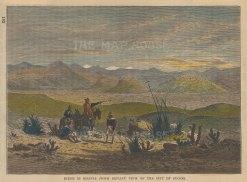"""Brown: Sucre, Bolivia. 1885. A hand coloured original antique wood engraving. 7"""" x 6"""". [SAMp1479]"""