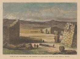 """Reclus: Tiahuanoca, Bolivia. 1894. A hand coloured original antique wood engraving. 8"""" x 6"""". [SAMp1481]"""