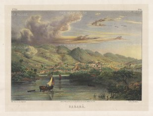 Sabara: In the valley of the Rio das Velhas and Rio Sabara. Since the late 17th century there has been a gold mining settlement spread along the river. The town took its name in 1838.