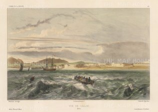 "Lemercier: Callao, Peru. 1850. A hand coloured original antique lithograph. 17 "" x 11"". [SAMp439]"