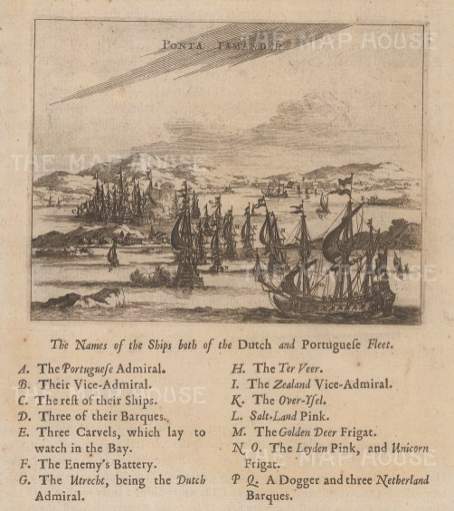 Tamandare: View of the Harbour with the Dutch and Portuguese fleet and key to ships.