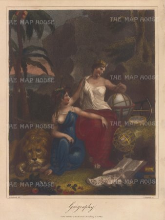 Allegory with Therra Goddess of the Earth and Tethys Goddess of the Sea, dividing the globe into Europe, Asia, Africa and America.