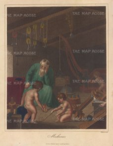Allegory with Archimedes surrounded by pupils with one drawing proportionally the sphere to cylindar. Right are Screw and Wedge, above the Balance, system of pulleys,. To the left a globe, hydrostatical bellows, and Archimede's screw or pump, the inclined plane with a crane at back.