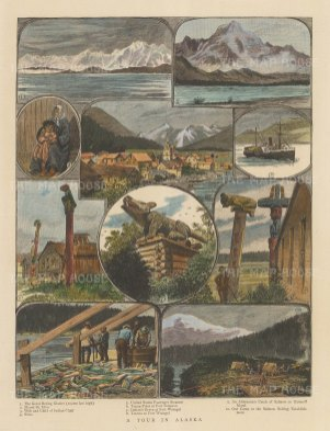 Fort Wrangel: 10 sketches including Great Bering Glacier, Mount St Elias and Baranoff Island.