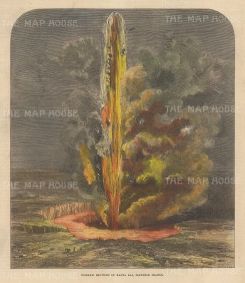 "Illustrated London News: Mauna Loa, Hawaii. 1872. A hand coloured original antique wood engraving. 8"" x 10"". [USAp4985]"