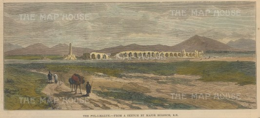 Kandahar: View of the ruins of the Pul-I-Malun bridge over the Hari river. After Major Thomas Holdrich, RE. Second Anglo-Afghan War.