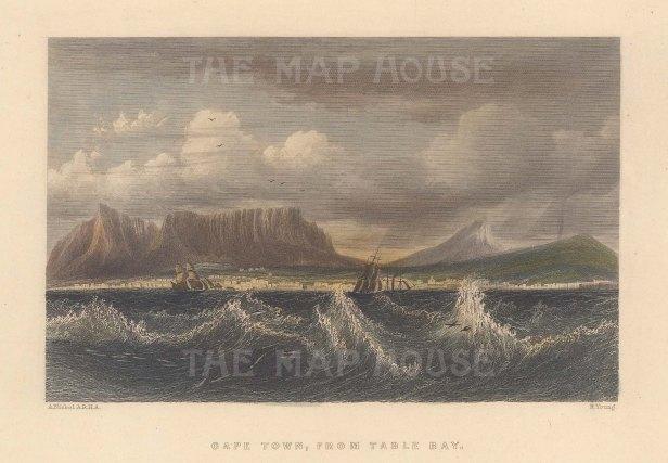 "Fullarton: Capetown. 1856. A hand coloured original antique steel engraving. 5"" x 4"". [AFRp1438]"