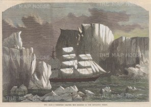 Antarctic Ocean: The George Thompson, named for the owner of the Aberdeen White Star line, amongst the icebergs.
