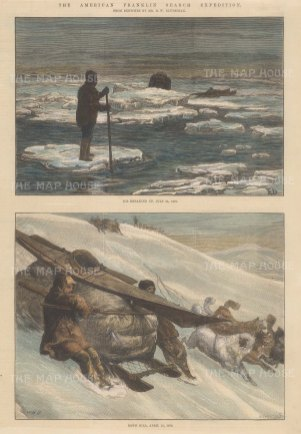 """Illustrated London News: Franklin Search Expedition, Arctic. 1881. A hand coloured original antique wood engraving. 9"""" x 14"""". [ARCp445]"""