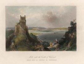 "Bartlett: Weitteneck Castle, Molk. c1840. A hand coloured original antique steel engraving. 8"" x 6"". [AUTp230]"