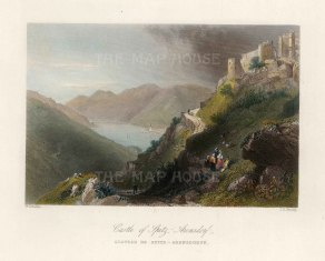 "Bartlett: Spitz-Arensdorf Castle, Austria. c1840. A hand coloured original antique steel engraving. 8"" x 6"". [AUTp232]"