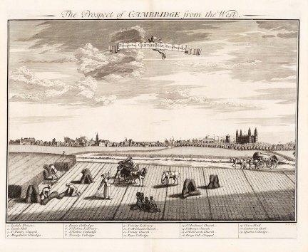 """Kip: Cambridge. c1720. An original antique copper engraving. 24"""" x 19"""". [CAMBSp412]"""