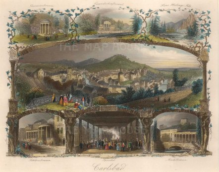 Karlovy Vary (Carlsbad): Panoramic view with six vignettes.