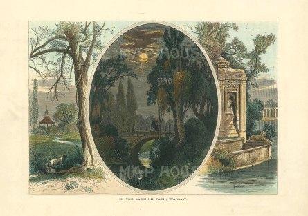 "Picturesque Europe: Lazienski Park, Warsaw, Poland. c1880. A hand coloured original antique wood engraving. 10"" x 6"". [CEUp495]"