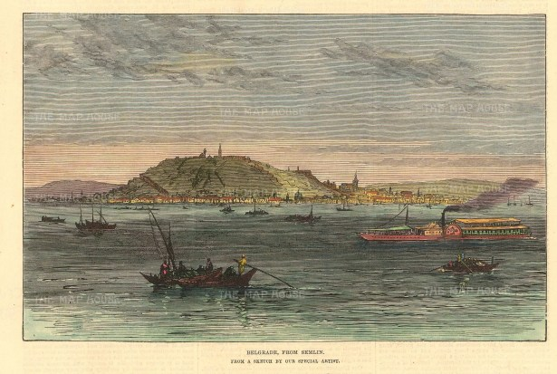 "Illustrated London News: Belgrade, Serbia. 1876. A hand coloured original antique wood engraving. 8"" x 7"". [CEUp503]"