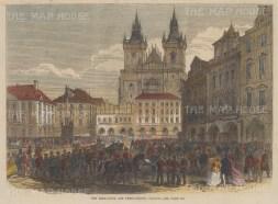 "Illustrated London News: Prague, Czech Republic. 1866. A hand coloured original antique wood engraving. 9"" x 6"". [CEUp529]"