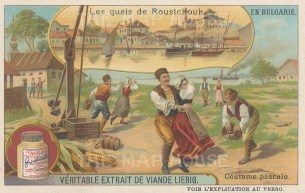 Roustchouk (Ruse): View of the harbour with locals in Easter dress.
