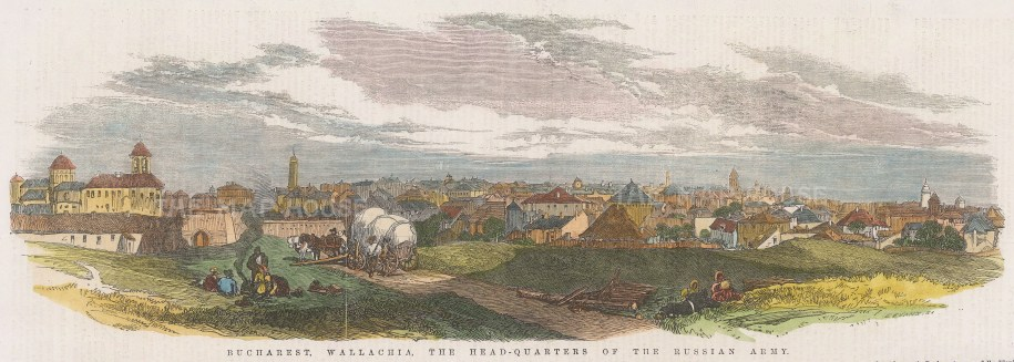 """Illustrated London News: Bucharest, Romania. 1853. A hand coloured original antique wood engraving. 14"""" x 5"""". [CEUp540]"""