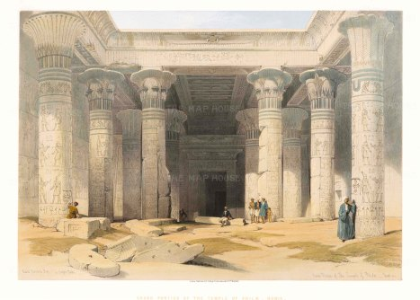 """Roberts: Temple of Philea. 1847. A hand coloured original antique lithograph. 20"""" x 15"""". [EGYp1054]"""