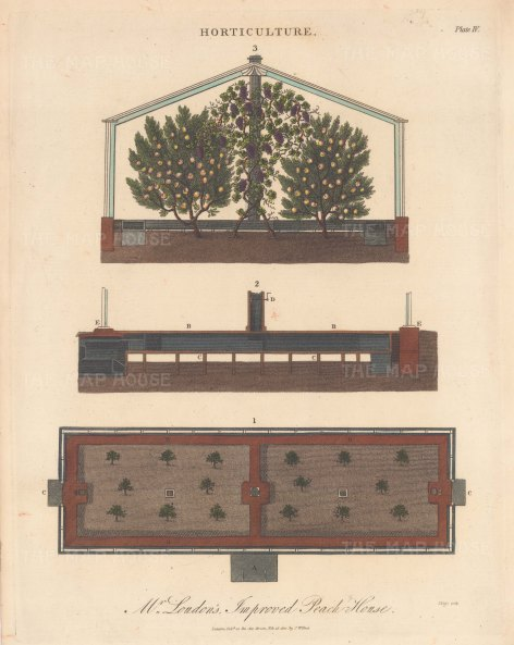 Peach House. 1. Ground plan 2. transverse section of the underground works 3. upper section.