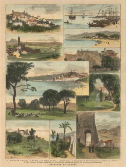 """Illustrated London News: Cannes. c1880. A hand coloured original antique wood engraving. 10"""" x 14"""". [FRp1263]"""