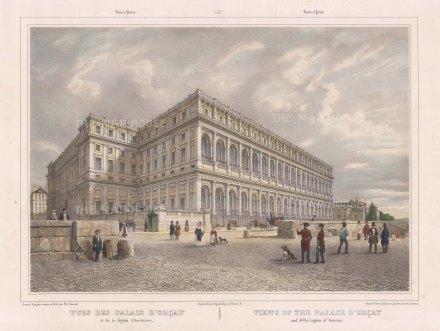 """Benoist: Palace D' Orcay, Paris. c1850. A hand coloured original antique lithograph. 18"""" x 12"""". [FRp1282]"""