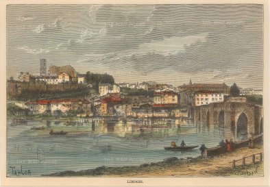 "Reclus: Limoges. 1894. A hand coloured original antique wood engraving. 8"" x 6"". [FRp1447]"