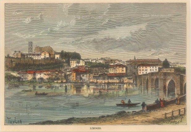 "Reclus: Limoges. 1894. A hand coloured original antique wood engraving. 8"" x 6"". [FRp1447]"