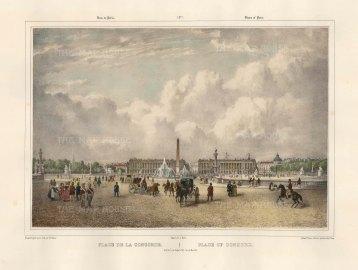 """Benoist: Place de la Concord. c1850. A hand coloured original antique lithograph. 18"""" x 12"""". [FRp1609]"""