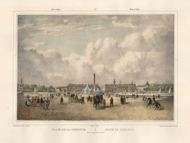 "Benoist: Place de la Concord, Paris. c1850. A hand coloured original antique lithograph. 18"" x 12"". [FRp1609]"