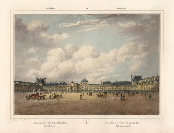 "Benoist: Chateau des Tuileries, Paris. c1850. A hand coloured original antique lithograph. 18""x 12"". [FRp1611]"