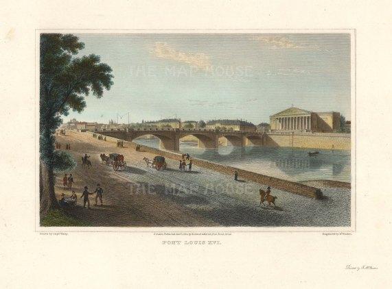 """Lieut. Col. Batty: Pont Louis XVI , Paris.1821. A hand coloured original antique steel engraving. 9"""" x 6"""". [FRp1623]"""
