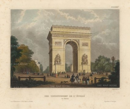 "Meyer: Arch de Triomphe, Paris. 1836. A hand coloured original antique steel engraving. 8"" x 6"". [FRp1625]"