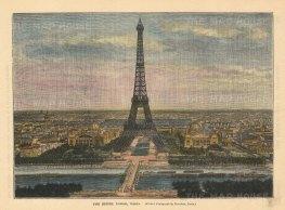 "Brown: Eiffel Tower, Paris. c1880. A hand coloured original antique wood engraving. 8"" x 6"". [FRp1628]"