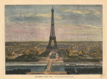 "Brown: Eiffel Tower. c1880. A hand coloured original antique wood engraving. 8"" x 6"". [FRp1628]"