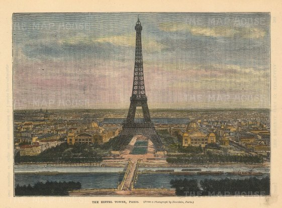 "Brown: Eiffel Tower, Paris. c1880. A hand coloured original antique wood engraving. 8"" x 6"". [FRp1628]"