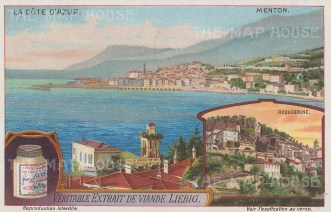 "Liebig's Extract: Menton. c1912. An original antique chromolithograph. 5"" x 3"". [FRp1645]"