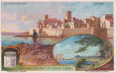 "Liebig's Extract: Antibes. c1912. An original antique chromolithograph. 5"" x 3"". [FRp1647]"