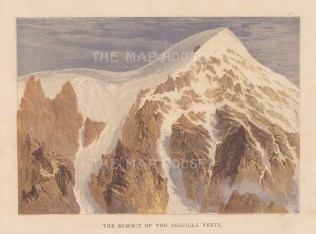 Alps: Aiguille Vert Chamonix. First ascended by the artist Edward Whymper in 1865.