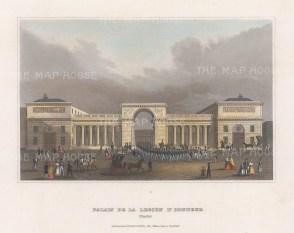 """Meyer: Palais de la Legion d'Honneur. 1836. A hand coloured original antique steel engraving. 8"""" x 6"""". [FRp1657]"""