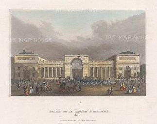 "Meyer: Palais de la Legion d'Honneur, Paris. 1836. A hand coloured original antique steel engraving. 8"" x 6"". [FRp1657]"