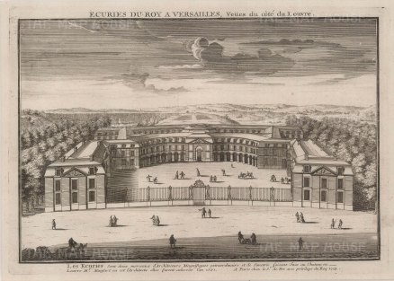 Versailles: Panoramic view of the stables, menage and grounds.