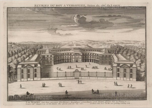 Panoramic view of the stables, menage and grounds.