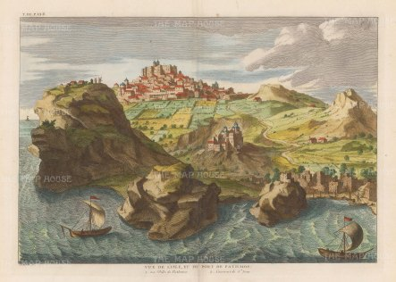 Patmos: Chora. View of the Castle of Pathmos and Monastary of St John