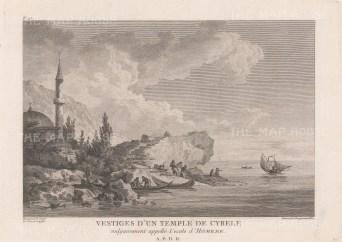 Vrontados Beach. Temple of Cybele and Homer's Stone (Daskalopetra Rock).