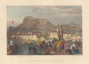 "Fullarton & Co.: Port Kenkries, Corinth. 1856. A hand coloured original antique steel engraving. 6"" x 4"". [GRCp904]"