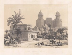 Lahore. Hazuri Bagh Gate: View from within the courtyard of the gate and the marble pavilion Baradari of Ranjit Singh.