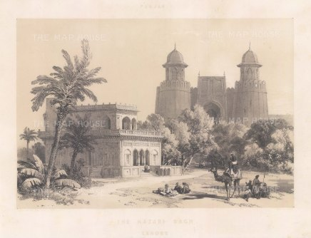 Lahore: Hazuri Bagh Gate: View from within the courtyard of the gate and the marble pavilion Baradari of Ranjit Singh.