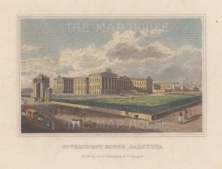 "Fullarton: Government House, Calcutta.I c1845. An original hand coloured antique steel engraving. 4"" x 3"".{INDp1519}"