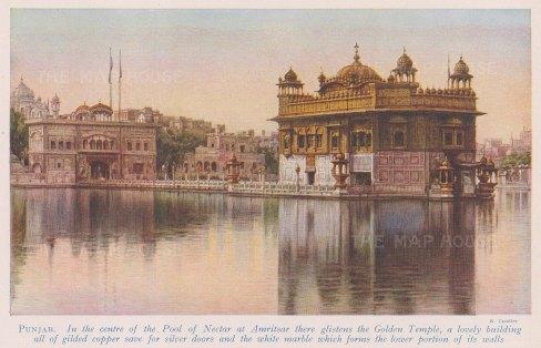 Amiritsar: View over the sacred pool to Harmandir Sahib ( Golden Temple). With text.